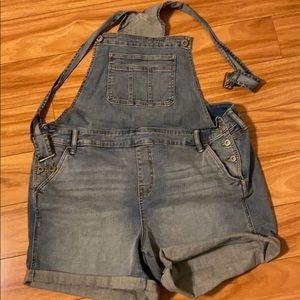 NWOT Torrid denim overall shorts. Size 20.